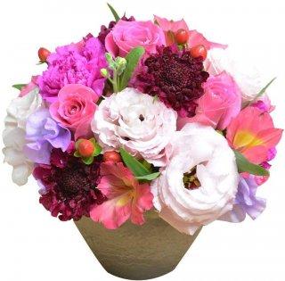 店長おまかせアレンジメント ピンク系カラー フラワーギフト 生花 誕生日祝い 結婚記念日 結婚祝い お祝い プレゼント