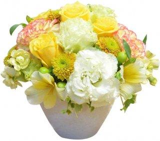 店長おまかせアレンジメント イエロー系カラー フラワーギフト 生花 誕生日祝い 結婚記念日 結婚祝い お祝い プレゼント