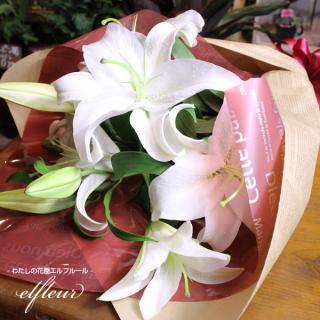 大輪の白いカサブランカ花束 2本 10〜15輪あります カラー:ホワイト