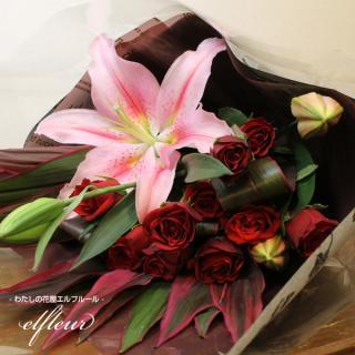 高級感を感じさせる深紅バラ10本&ピンクユリのミックス花束 カラー:レッド×ピンク
