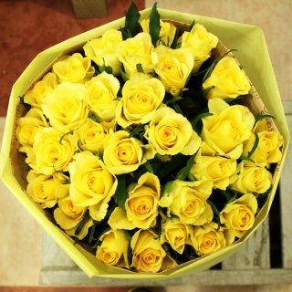 ちょっと珍しい!色鮮やかな黄色バラの花束 60本 誕生日プレゼント、男性へのプレゼントにオススメです