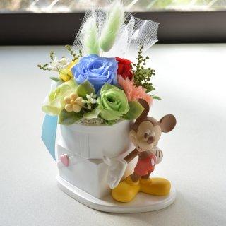 【クリアケース付】ディズニー ミッキー陶器のプリザーブドフラワーアレンジメント クリアケース付
