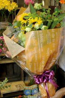 ボリューム満点!贈り物に!ひまわりが入った店長おまかせ花束