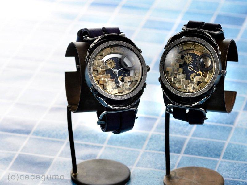 星界小部屋【セイカイコベヤ】−1 (ブラウン)手作り腕時計/クオーツ時計/サン&ムーン
