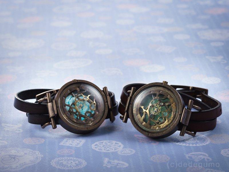 水藻【みなも】-2 ブルー 手作り腕時計/クオーツ時計