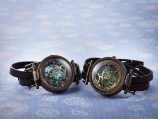水藻【みなも】-2 グリーン 手作り腕時計/クオーツ時計