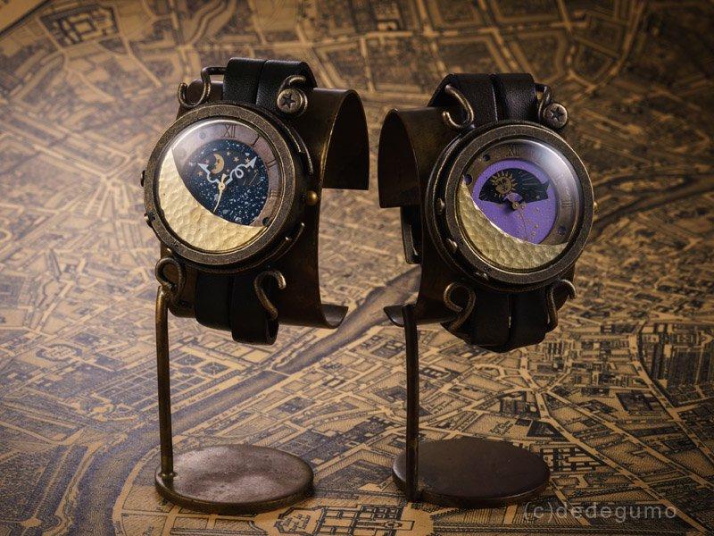 月光 (ネイビー)手作り腕時計/クオーツ時計/サン&ムーン