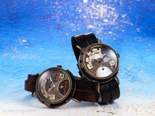 Rev. 【アールイーヴィー】ブラウン 手作り腕時計/クオーツ時計/スモールセコンド