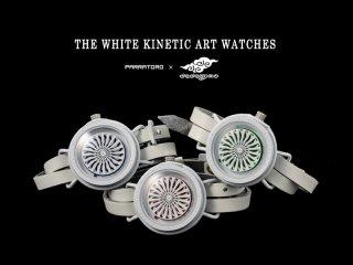 ホワイトキネティックアートウォッチ(グリーン)手作り腕時計/手巻き&自動機械式時計