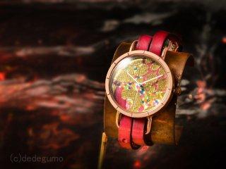 紅鏡【Koukyou】 K09  金彩上田×デデグモウォッチシリーズ 手作り腕時計/クオーツ時計