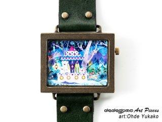 ある夜の日の湖畔(おおでゆかこ)dedegumoアートピースウォッチ 手作り腕時計/クオーツ時計