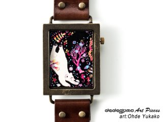 あの子へのプレゼント(おおでゆかこ)dedegumoアートピースウォッチ 手作り腕時計/クオーツ時計