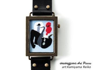 マールブラック/Color Sounds(Reiko Kamiyama)dedegumoアートピースウォッチ 手作り腕時計/クオーツ時計