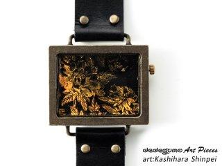 金色牡丹図柄時計(柏原晋平)dedegumoアートピースウォッチ 手作り腕時計/クオーツ時計