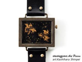 金色金魚図柄時計(柏原晋平)dedegumoアートピースウォッチ 手作り腕時計/クオーツ時計