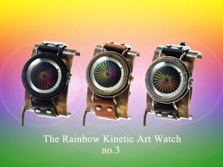 レインボーキネティックアートウォッチNo.3 【20mmベルト】手作り腕時計/手巻き&自動機械式時計