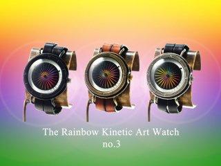 レインボーキネティックアートウォッチNo.3 【9mm2連ベルト】手作り腕時計/手巻き&自動機械式時計