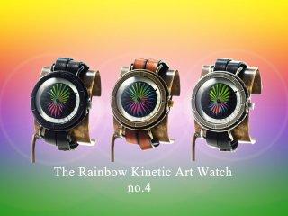 レインボーキネティックアートウォッチNo.4 【9mm2連ベルト】手作り腕時計/手巻き&自動機械式時計
