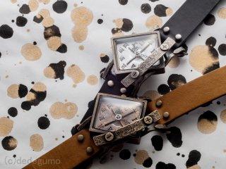 斜方計【しゃほうけい】(ブラウン) 手作り腕時計/クオーツ時計