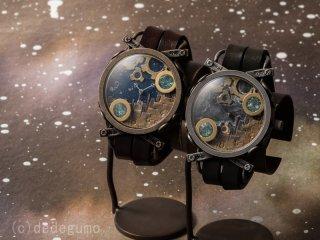 スノードーム(ブラック) 手作り腕時計/クオーツ時計