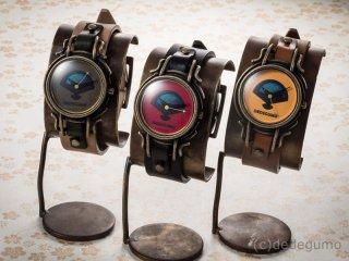 扇(グリーン) 手作り腕時計/クオーツ時計/サン&ムーン