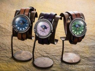 月下美人(グリーン) 手作り腕時計/クオーツ時計/サン&ムーン