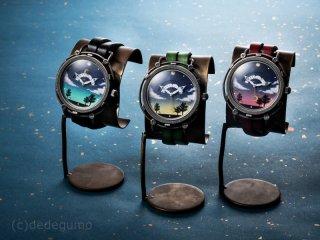 夜空(レッド) 手作り腕時計/クオーツ時計/サン&ムーン