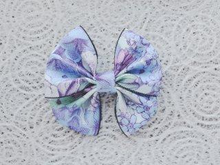 畳縁ダブルリボンバレッタ(花柄ブルー)ヘアアクセサリー