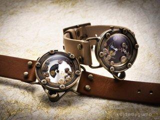 睡蓮鉢(ブラウン) 手作り腕時計/クオーツ時計/サン&ムーン
