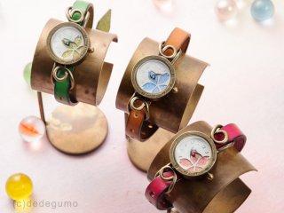 花模様(グリーン) 手作り腕時計/クオーツ時計