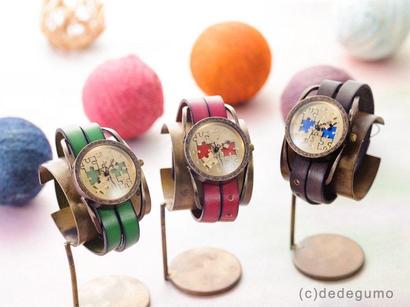 パズル(グリーン) 手作り腕時計/クオーツ時計