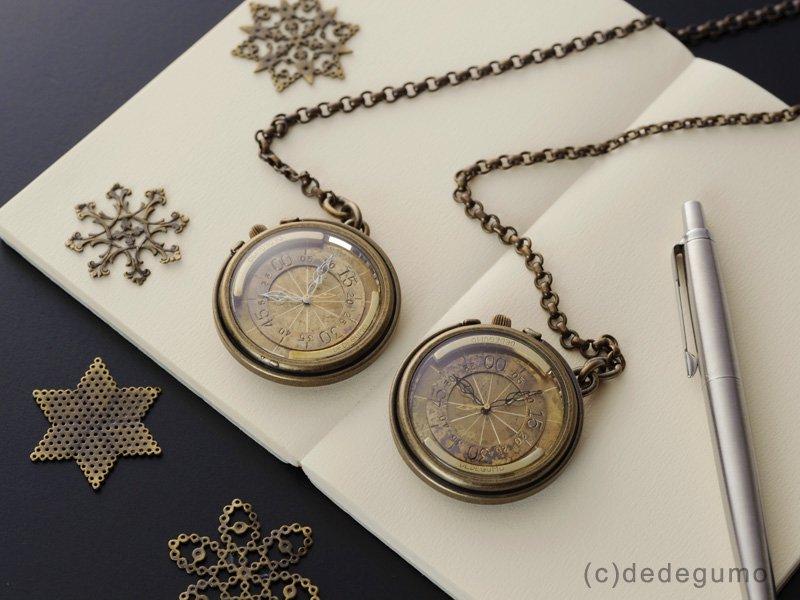 株【くいぜ】(ブラック) 手作り時計/クオーツ懐中時計