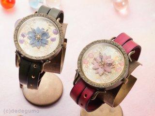 花散雨(パープル) 手作り腕時計/クオーツ時計