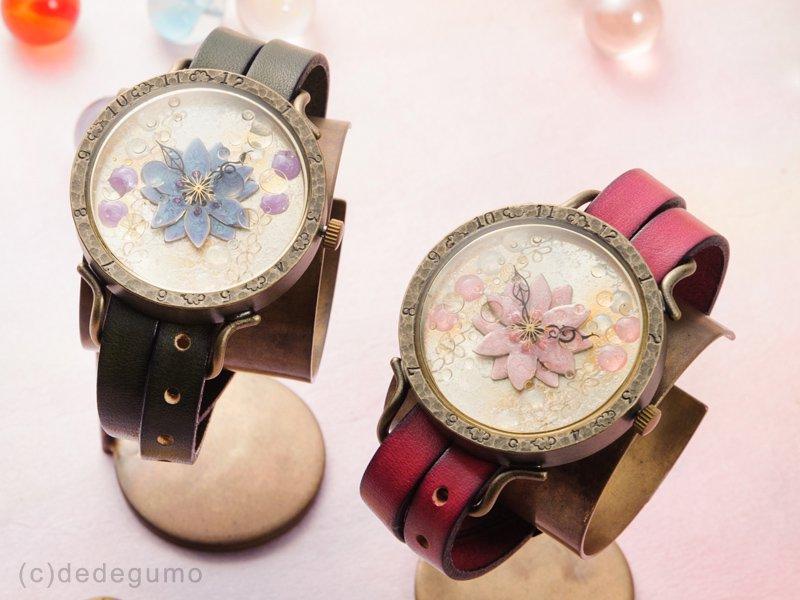 花散雨(ピンク) 手作り腕時計/クオーツ時計