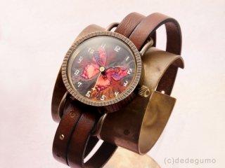 Te・Fu・Te・Fu(レッド) 手作り腕時計/クオーツ時計