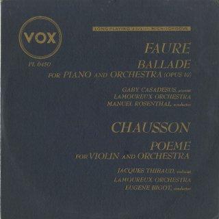 ショーソン:詩曲Op.25,フォーレ:ピアノと管弦楽のためのバラードOp.19