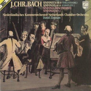J.C.バッハ:交響曲Op.18(6曲)Op.9−2,協奏交響曲