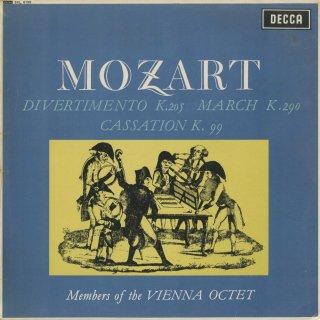 モーツァルト:ディヴェルティメント7番K.205,行進曲K.290,カッサシオンK.99