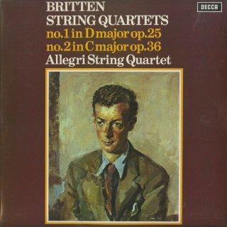 ブリテン:弦楽四重奏曲1番Op.25,2番Op.36