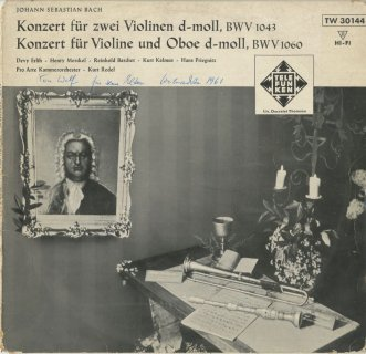 バッハ:2つのヴァイオリンのための協奏曲BWV.1043,ヴァイオリンとオーボエのための協奏曲BWV.1060
