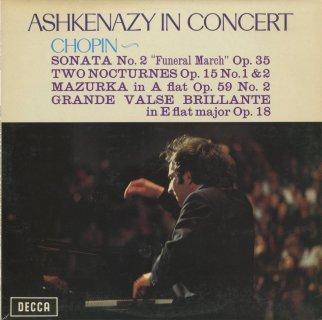 「アシュケナージ・イン・コンサート」ショパン:ピアノ・ソナタ2番Op.35,夜想曲4番Op.15−1,5番Op.15−2,マズルカ37番Op.59−2,華麗なる大ワルツOp.18