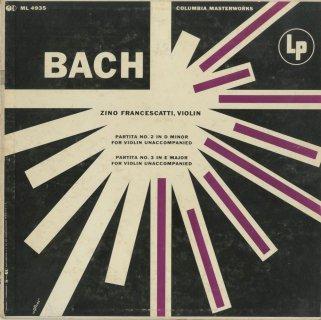 バッハ:無伴奏ヴァイオリン・パルティータ2番BWV.1004,3番BWV.1006