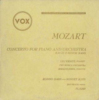 モーツァルト:ピアノ協奏曲20番K.466,ロンドK.485,メヌエットK.355