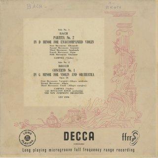 バッハ:無伴奏ヴァイオリン・パルティータ2番BWV.1004,ブルッフ:ヴァイオリン協奏曲1番Op.26