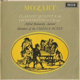 モーツァルト:クラリネット五重奏曲K.581,ディヴェルティメントK.247