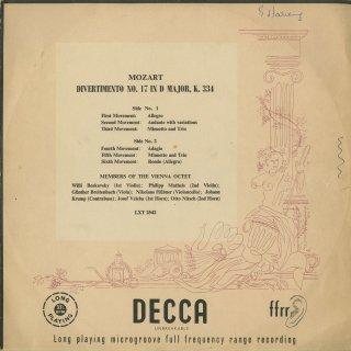 モーツァルト:ディヴェルティメント17番K.334