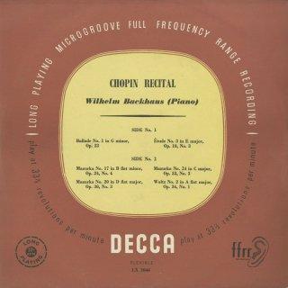 ショパン:バラード1番Op.23,マズルカ(3曲),練習曲Op.10−3,ワルツ
