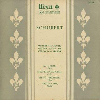 シューベルト:フルート・ギター・ヴィオラ・チェロの四重奏曲D.96
