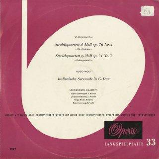 ハイドン:弦楽四重奏曲76番Op.76−2「五度」,74番Op.74−3「騎士」,ヴォルフ:イタリア風セレナーデ