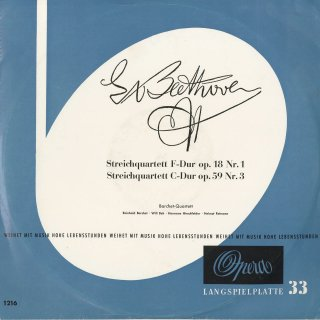 ベートーヴェン:弦楽四重奏曲1番Op.18−1,9番Op.59−3